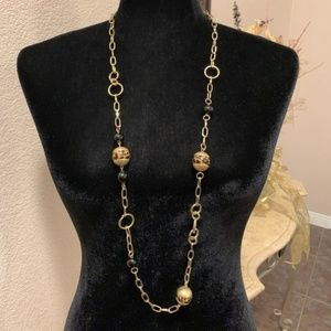 M. Haskell gold cheetah print chain bead necklace
